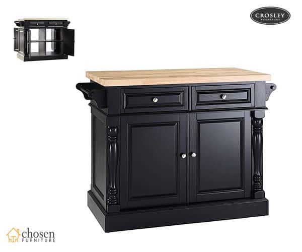 Crosley Furniture Kitchen Island with Butcher Block Top