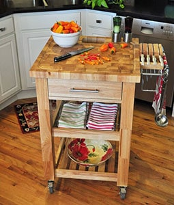 Ebern Designs Sydney Kitchen Island Cart Butcher Block details