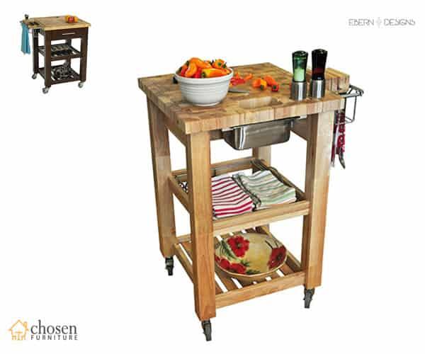 Ebern Designs Sydney Kitchen Island Cart Butcher Block
