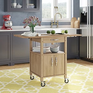 Red Barrel Baca Kitchen Island Cart with Wooden Top Butcher Block details