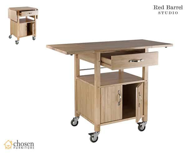 Red Barrel Baca Kitchen Island Cart with Wooden Top Butcher Block