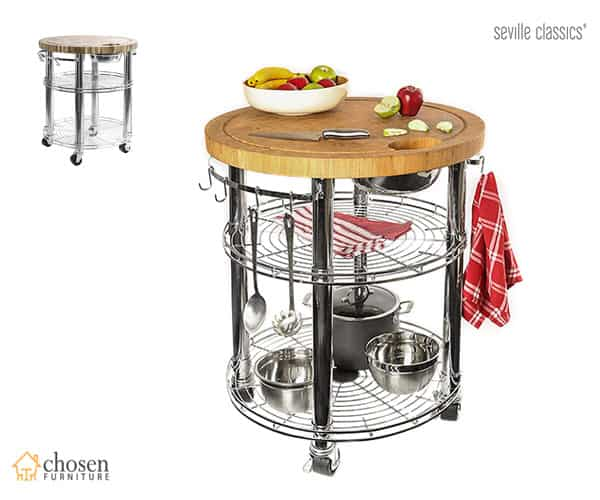 Seville Classics Rolling Kitchen Islands with Butcher Block Solid Bamboo