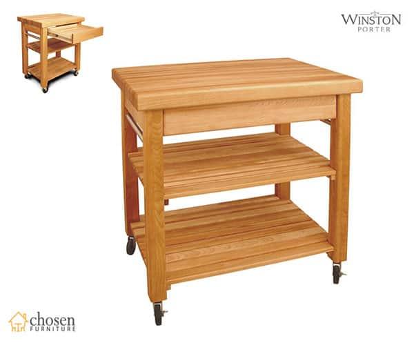 Winston Porter Wulfram Kitchen Island Cart with Butcher Block