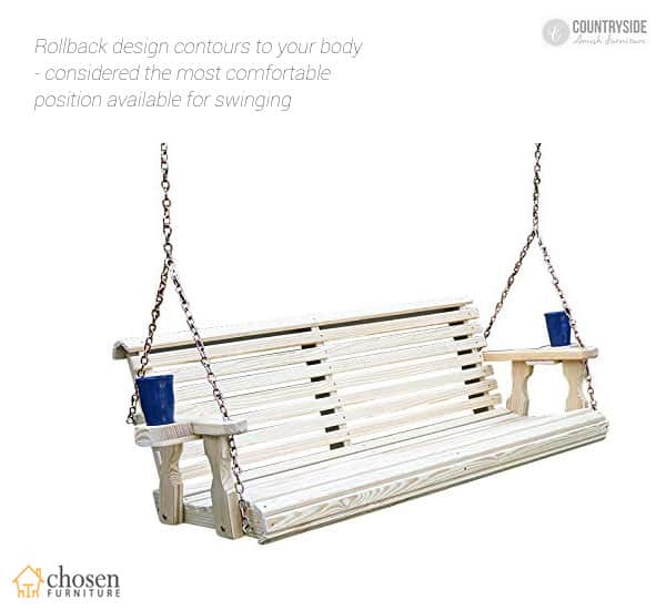 Amish Heavy Duty Roll Back Porch Swing With Cupholders