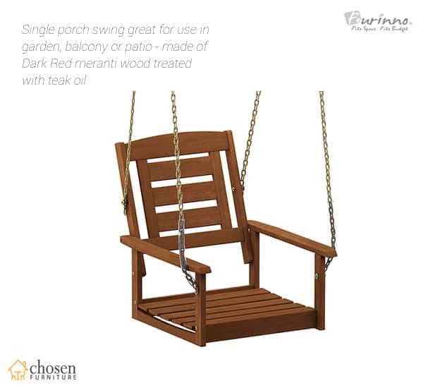 Furinno Tioman Hardwood Patio Furniture 1-Seater Porch Swing
