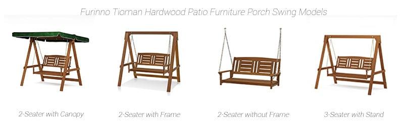 Furinno Tioman Hardwood porch swing models