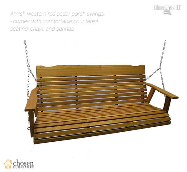 Kilmer Creek 5 Foot Cedar Porch Swing Stained Finish Amish Crafted