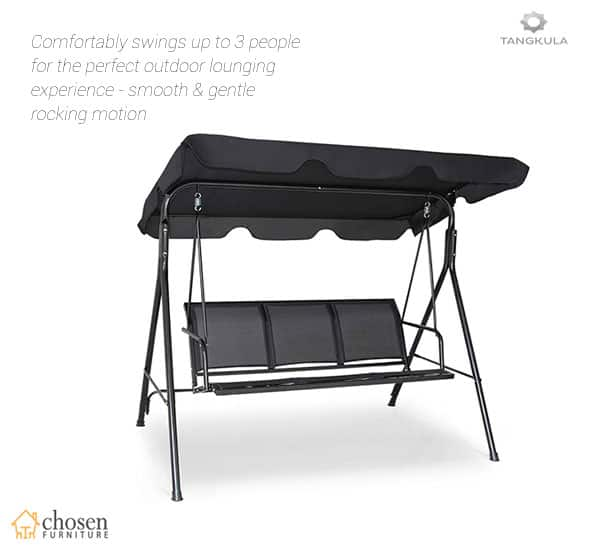 Tangkula 3 Person Patio Swing with Adjustable Canopy