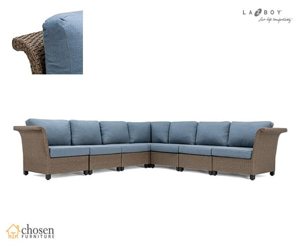 La-Z-Boy Nolin 7pc Sectional w/ Blue Cushions