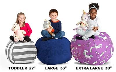 Creative Stuffed Animal Storage Bean Bag Chair sizes