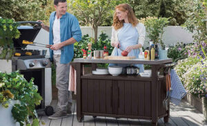 Keter Unity XL Outdoor BBQ Prep Station cooking